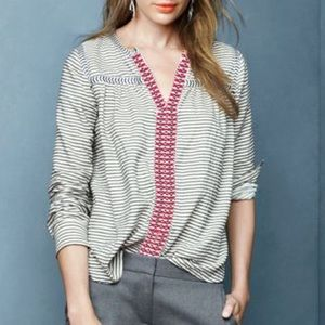 J. Crew embroidered striped pheasant top